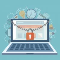 Flat illustration of security center. Lock with chain around computer